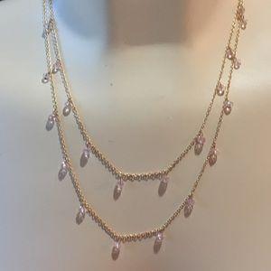 "Minimalist 36"" Long Necklace Pink Beads"